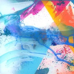 abstract expressionist painting with gestural strokes in various blues, pink, and orange